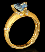 Mousson Atelier Tweed Collection Gold Aquamarine & Diamond Ring R0085-0/1