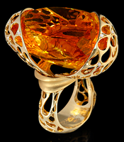 Mousson Atelier The Net Collection Gold Citrine & Diamond Ring R0093-0/1
