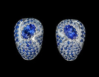 Mousson Atelier Riviera Gold Tanzanite & Sapphire Earrings E0072-3/1