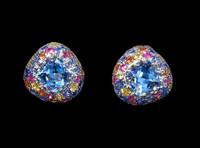 Mousson Atelier Riviera Gold Sky Topaz & Sapphire Earrings E0074-2/9