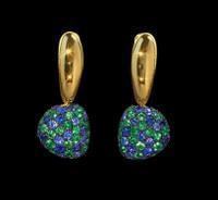 Mousson Atelier Riviera Gold Sapphire & Tsavorite Earrings E0040-1/5