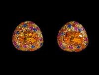 Mousson Atelier Riviera Gold Citrine & Sapphire Earrings E0072-2/2