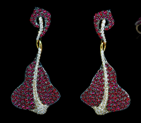 Mousson Atelier Ocean Collection Gold Ruby & Diamond Earrings E0059-0/2