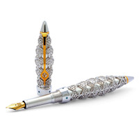 Jack Row Jaali Silver & Petrol Blue Diamond Pens