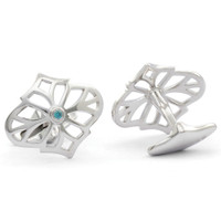 Jack Row Jaali Silver & Petrol Blue Diamond Cufflinks