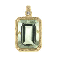 Herco 14KT Yellow Gold & Green Amethyst Pendant 14RGPD178YD