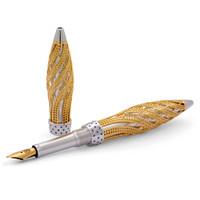 Jack Row Architect Fountain Pen: 18k Yellow Gold Sapphires