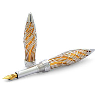 Jack Row Architect Fountain Pen: 18k WG Diamonds