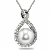Imperial White Freshwater Cultured Pearl & Diamond Pendant CSWP002/FW18