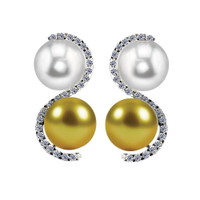 Imperial White & Gold South Sea Pearl & Diamond Earrnings CSWE001/GWSS