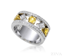 Ziva Yellow Sapphire & Diamond Anniversary Band