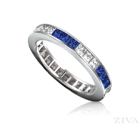 Ziva Square Sapphire & Diamond Eternity Band
