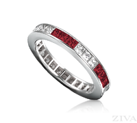 Ziva Square Ruby & Diamond Eternity Band