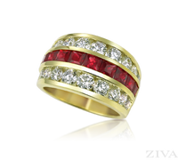 Ziva Large Ruby & Diamond Anniversary Band
