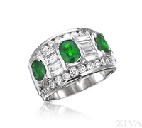 Ziva Large Emerald & Diamond Band with Baguette & Round