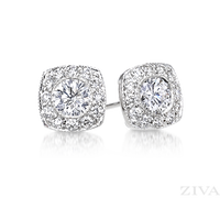 Ziva Diamond Earrings with Square Halo