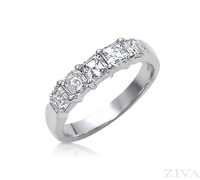 Ziva Asscher Cut Diamond Anniversary Band
