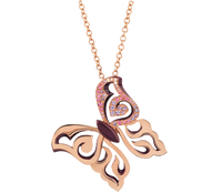 Van Der Bauwede 18K Pink Gold Diamond Butterfly Pendant (Small) 00489