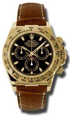 Rolex Daytona Yellow Gold Leather Strap 116518bksbr