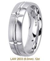 Men's Diamond Wedding Band 14K:White LAW2633M