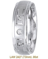 Men's Diamond Wedding Band 14K:White LAW2427M