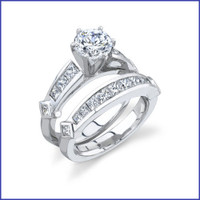 Gregorio 18K White Engagement Set R-324E