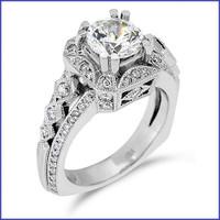 Gregorio 18K White Engagement Diamond Ring R-355