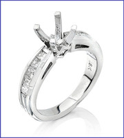 Gregorio 18K White Diamond Engagment Ring R-4320