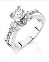 Gregorio 18K White Diamond Engagement Ring R-236