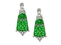 Green Jade & 0.87 ct Diamond Earring