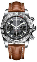 Breitling Chronomat 41 Steel Dia Bezel Croco Strap Deployant AB0140AA/F554