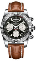 Breitling Chronomat 41 Steel Dia Bezel Croco Strap Deployant AB0140AA/BA52