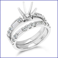 Gregorio 18K White Engagement Diamond Ring R-307