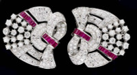 Gayubo Ruby & Diamond Double Clip Brooch 8172/R