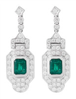 Gayubo Art Deco Style 18K WG Emerald & Diamonds Earrings 9538/1