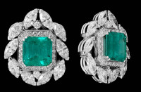Gayubo 18K WG Emerald & Diamond Earrings 9754