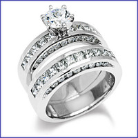 Gregorio 18K White Engagement Diamond Ring R-184