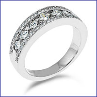 Gregorio 18K White Engagement Diamond Band R-348B