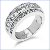 Gregorio 18K White Engagement Diamond Band R-182