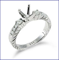 Gregorio 18K White Engagement Diamond Ring R-235