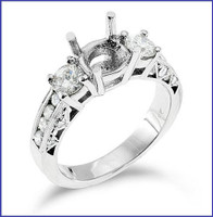 Gregorio 18K White Engagement Diamond Ring R-148