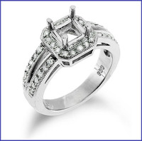 Gregorio 18K White Engagement Diamond Ring R-7066