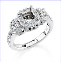 Gregorio 18K White Diamond Engagement Ring R-217