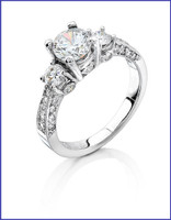 Gregorio 18K White Diamond Engagement Ring H-909