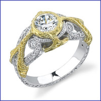Gregorio 18K 2 Tone Gold Diamond Engagement Ring R-390