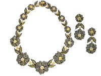 Flower-Shaped Diamond Earring & Necklace Set