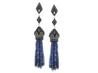 Blue Sapphire & 3.59 ct Diamond Tassel Earring