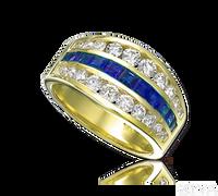Ziva Wide Emerald & Diamond Anniversary Band