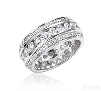 Ziva Channel Set Diamond Eternity Ring with Pave Sides