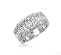 Ziva Antique Style Diamond Anniversary Band with Channel Set Baguette & Pave Set Round Diamonds